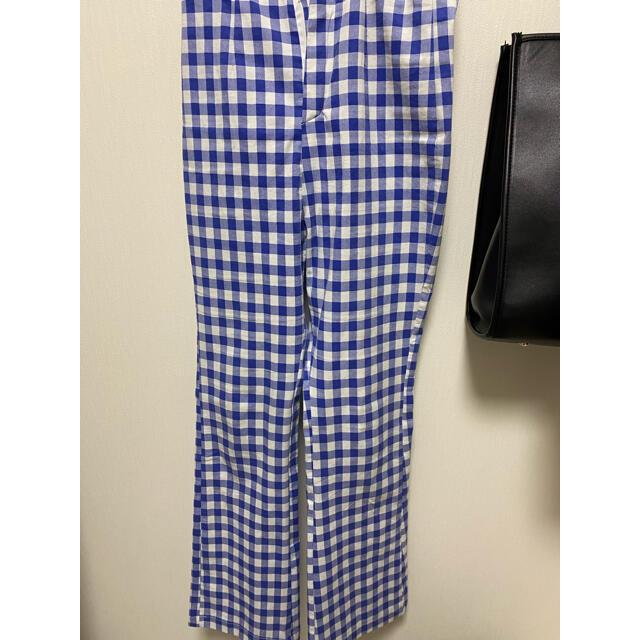 back slit gingham check pants ice blue レディースのパンツ(カジュアルパンツ)の商品写真