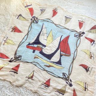 マニプリ ストール リネン 麻混 大判 ヨット 舟 船 柄 スカーフ(ストール/パシュミナ)