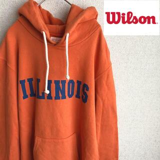 ウィルソン(wilson)のUSA製 WILSON プリント スウェット パーカー ウィルソン 38 古着(パーカー)