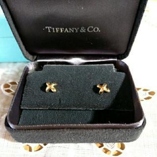 Tiffany & Co. - ティファニー クロス シグネチャー ピアス 大 k18 YG