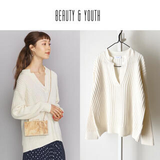 BEAUTY&YOUTH UNITED ARROWS - 20SS 美品 BEAUTY&YOUTH スキッパーネック春ニット