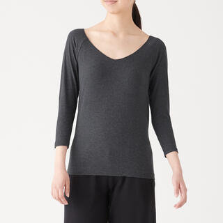 MUJI (無印良品) - 綿であったかVネック八分袖Tシャツ 婦人L チャコールグレー