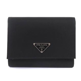 PRADA - プラダ PRADA 財布 三つ折り財布 ロゴ ナイロン レザー M176 黒 ブ