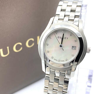 Gucci - GUCCIグッチ 新品電池 11Pダイヤ シェル 5500L  レディース腕時計