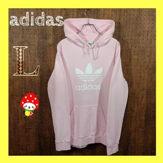 adidas - 【 レアカラー】アディダス くすみ ピンク プルオーバーパーカー ビックロゴ L