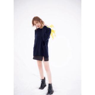 紗栄子my apparel  2wayクルーネックニット(ネイビー)