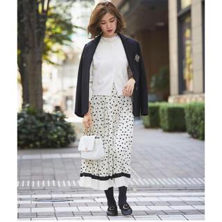 Drawer - seventen ドットプリーツスカート ホワイト  XS