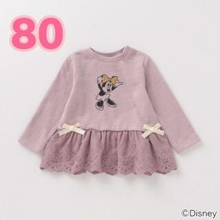 petit main - プティマイン 裏起毛 ミニーマウスデザイン フリルつきペプラムTシャツ 80