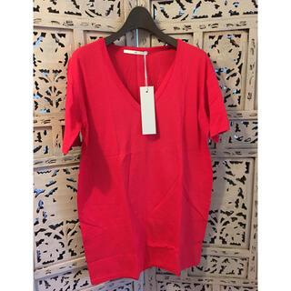 エヌフォー(N4)の新品 N4 定番VネックT PLAIN STITCH V RED 2 エヌフォー(Tシャツ/カットソー(半袖/袖なし))