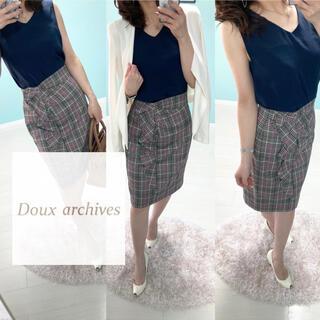 ドゥアルシーヴ(Doux archives)のDoux archives◆とろみトップス❤️サイズ38 ノースリーブ ネイビー(カットソー(半袖/袖なし))