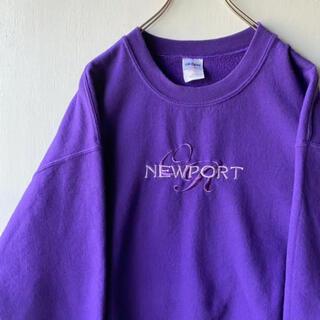 ギルタン(GILDAN)の古着 GILDAN 刺繍 ロゴ スウェットトレーナー L 紫 パープル(スウェット)