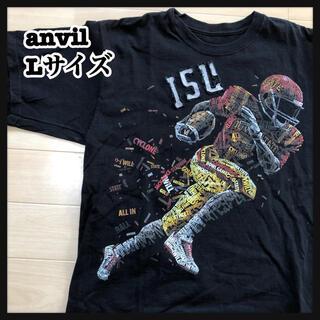アンビル(Anvil)の【アンビル】半袖 Tシャツ アメフト ISU ビッグプリント 総柄 L 52(Tシャツ/カットソー(半袖/袖なし))