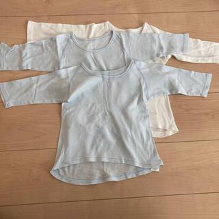 アカチャンホンポ(アカチャンホンポ)の長袖肌着 90 男の子 ブルー 白 赤ちゃん本舗 3枚セット(下着)