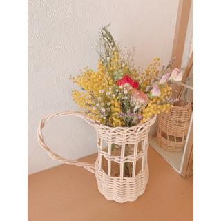 ドライフラワー 籐の花立て 水差し型 黄色の春色スワッグ(ドライフラワー)