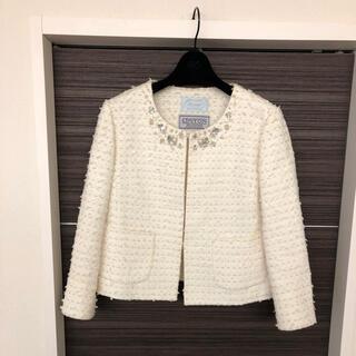 エムプルミエ(M-premier)の美品♡ビジューツイードジャケット♡アベニール(ノーカラージャケット)