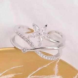 花モチーフ 一粒ダイヤリング クロスリング エタニティ 高級感 高品質 豪華