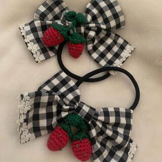 アンジェリックプリティー(Angelic Pretty)のアンジェリックプリティ いちご ヘアゴム チェック strawberry(ヘアゴム/シュシュ)