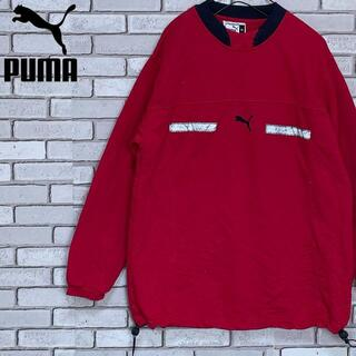 PUMA - 激レア 希少 PUMA プーマ 長袖トレーナー センターロゴ刺繍入り レッド M