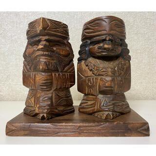 縁起物 天然木 アイヌ木彫置物(台座付)ニポポ人形 北海道 昭和レトロ(彫刻/オブジェ)