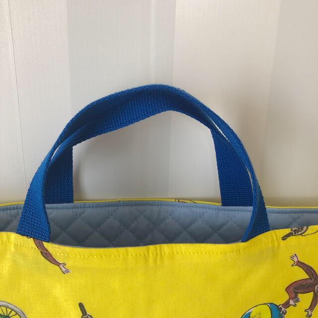 おさるのジョージ 黄色クラシック 青 レッスンバッグ 絵本バッグ 輸入レア生地 キッズ/ベビー/マタニティのこども用バッグ(レッスンバッグ)の商品写真