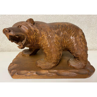 縁起物 天然木 熊木彫置物(台座付)くま クマ 北海道 昭和レトロ(彫刻/オブジェ)
