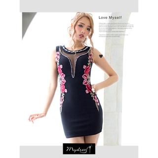 dazzy store - dazzy♡バストカットローズ刺繍デザインタイトミニドレス