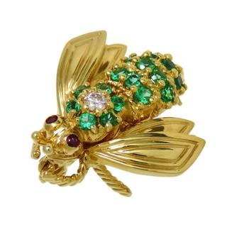 ティファニー(Tiffany & Co.)のティファニー ブローチ ハチ/昆虫 K18 エメラルド(ブローチ/コサージュ)