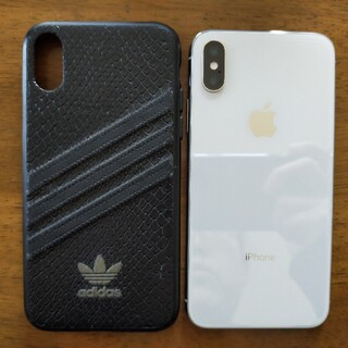 アップル(Apple)のiPhone X Silver 64 GB SIMロックなし ケース付(スマートフォン本体)