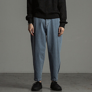 MARKAWEAR - Text テクスト WIDE PLEATED BAKER JEANS デニム 0