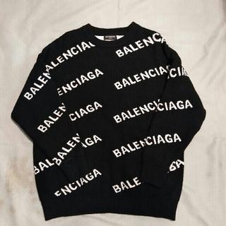 Balenciaga - 新品美品BALENCIAGA  ロゴ ニット クルーネック 黒M