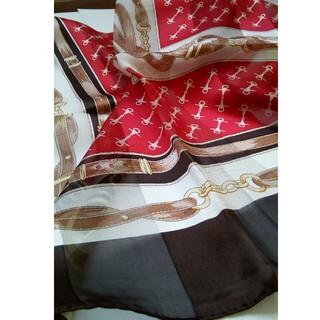シルク100% スカーフ 赤 茶(バンダナ/スカーフ)