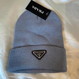 PRADA - PRADA プラダ ロゴ ニット帽  ビーニー グレー 灰色 帽子