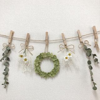紫陽花リースと花かんざしが可愛いガーランド♡ドライフラワーガーランド(ドライフラワー)