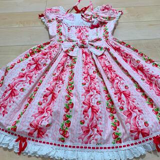 アンジェリックプリティー(Angelic Pretty)のangelicpretty sweet ribbon strawberry (ひざ丈ワンピース)