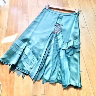 ケンゾー(KENZO)の値下げ KENZO シルク スカート グリーン系 36(ひざ丈スカート)