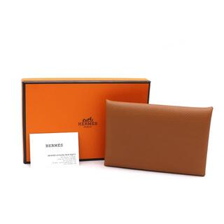 Hermes - HERMES カードケース カルヴィ レザー ゴールド ブラウン A3975