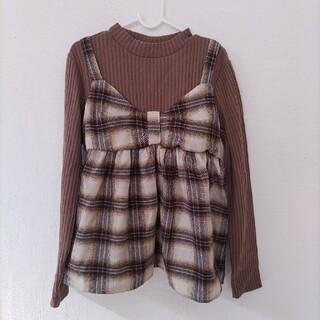 女の子 トップス レイヤード リボン 140 カットソー(Tシャツ/カットソー)