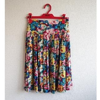 ケンゾー(KENZO)の【KENZO】花柄プリーツスカート Sサイズ(ひざ丈スカート)