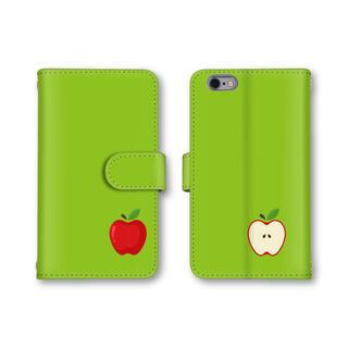 黄緑 グリーン スマホケース 手帳型 アップル リンゴ シンプルデザイン(モバイルケース/カバー)