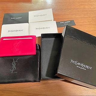 サンローラン(Saint Laurent)のイヴサンローラン カードケース 新品 ピンク(名刺入れ/定期入れ)