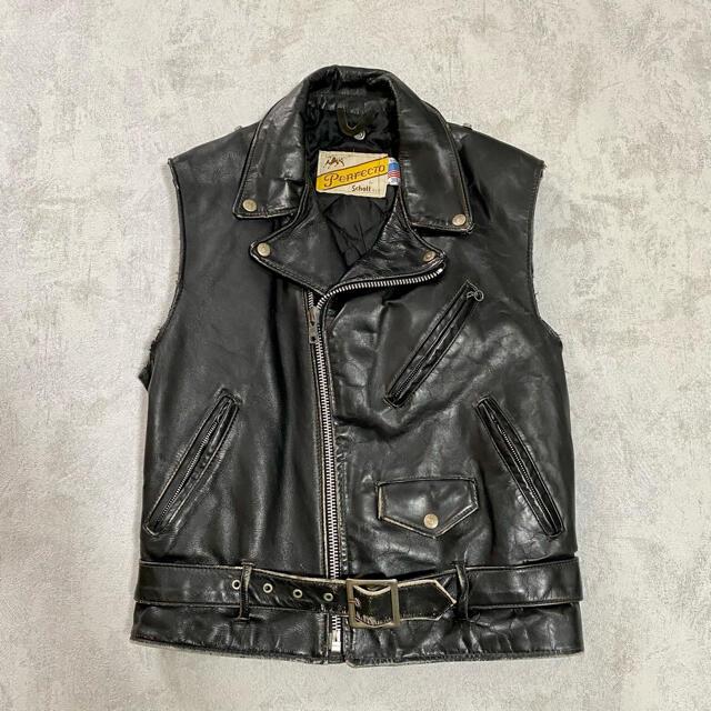 schott(ショット)のgoff 購入 ヴィンテージ  革ジャン schott レザーベスト メンズのジャケット/アウター(ライダースジャケット)の商品写真