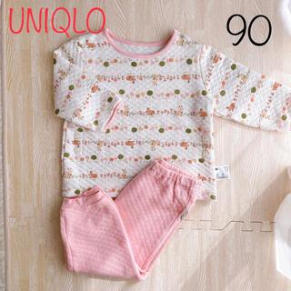UNIQLO - ユニクロ 野うさぎ キルトパジャマ ピンク 北欧 90cm