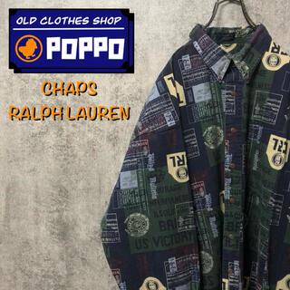 Ralph Lauren - チャップスラルフローレン☆スタンプロゴビッグ総柄シャツ 90s