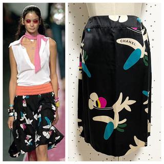 シャネル(CHANEL)の本物 シャネル シルク100% エアプレイン スカート 34 CHANEL(ミニスカート)