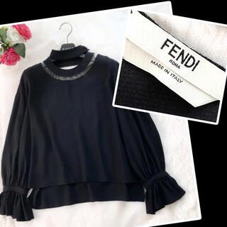 FENDI - 極美品‼️【FENDI フェンディ】シルク100% デコルテシースルートップス黒