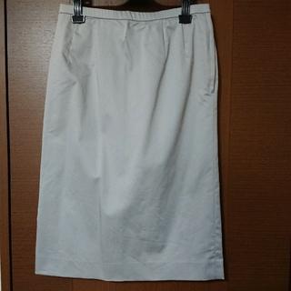 レリアン(leilian)のレリアン 膝下タイトスカートL 春夏物 ライトグレー 日本製 美品(ひざ丈スカート)