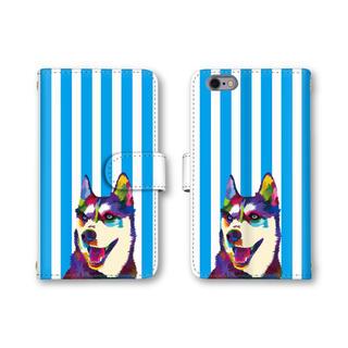 ブルー ストライプ スマホケース 犬 イヌ 手帳型ケース スマホカバー(モバイルケース/カバー)