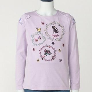 アナスイミニ(ANNA SUI mini)の130 ANNA SUI mini 抗菌防臭肩猫お花刺しゅうTシャツ 新品(Tシャツ/カットソー)