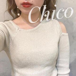 who's who Chico - 春ニット♡ ワンショルスリットラメリブニット