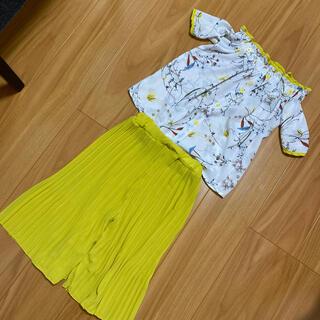 韓国子供服ボタニカル柄セットアップ☆プリーツパンツ、オフショルダー13サイズ(その他)